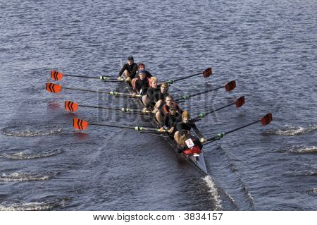 Boston - October 19: Wesleyan University Coxswain Ross Heinemann Races The In The Head Of Charles Re