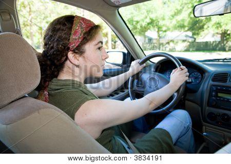Teen Driver Looks Both Ways
