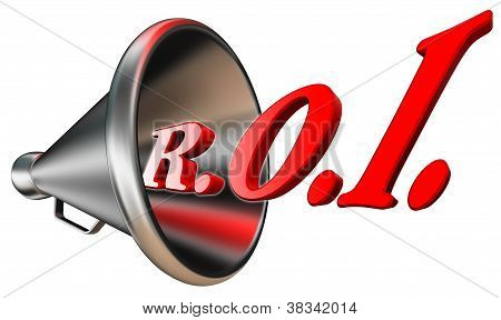 Roi Red Word In Megaphone