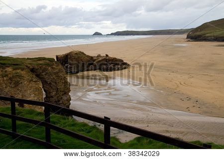 Perranporth beach North Cornwall England