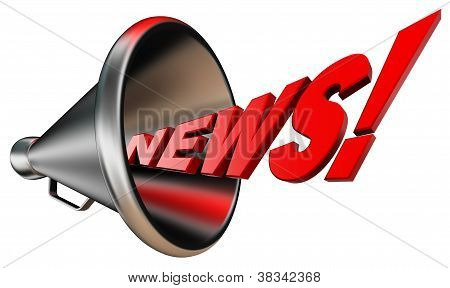 News Red Word And Metal Bullhorn