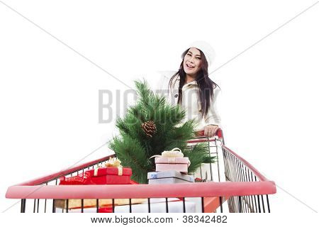Christmas Tree Shopping Isolated In White