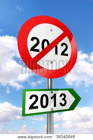 New Year Road Sign Red And Green