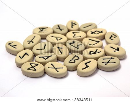 Nordic Runes On White Background
