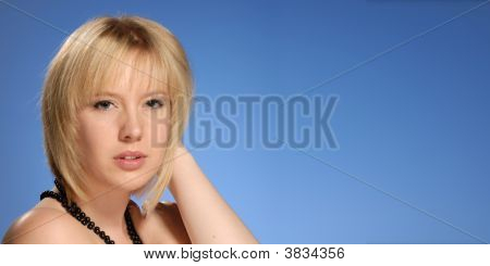 Cute Blond Lady With Sensuous Expression