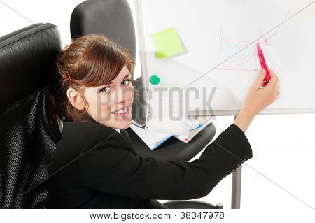 Business Lady At A Whiteboard