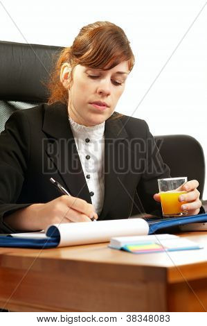 Business Lady At A Desk