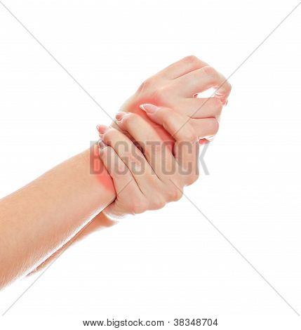 Close Up View Of Female Hands With Wrist Pain. Isolated On White.