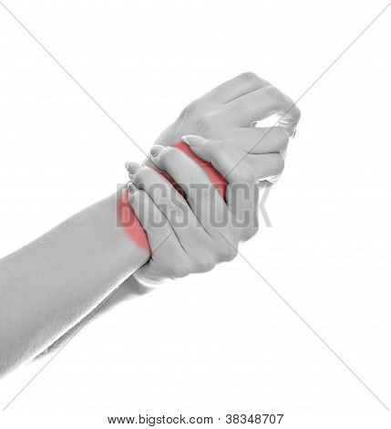 Close Up View Of Female Hands With Wrist Pain. Isolated On White. Black And White