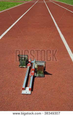 Running Track With Starting Blocks