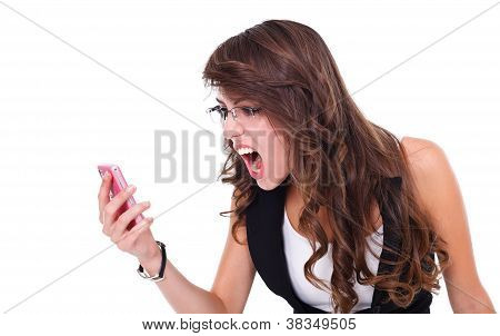 Girl Shouting To Mobile