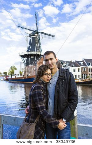 Young Couple In Dutch Town Of Haarlem, The Netherlands