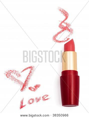 Smeared Pink Lipstick With Hearts Isolated On White