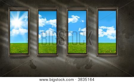 Dark Room With Windows Overlooking Blue Sky