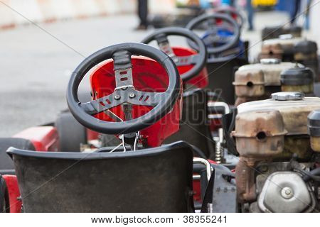 Perspective Row Of Go-kart Ready To Start
