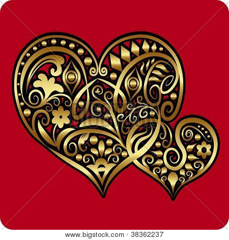 Golden Two Hearts ornament