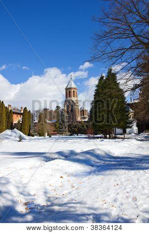 Garden of Curtea de Arges monastery in winter
