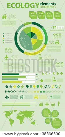 Coleção de infográficos de ecologia gráficos de elementos de gráfico vetorial do mapa mundo
