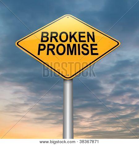 Concepto de promesa incumplida.