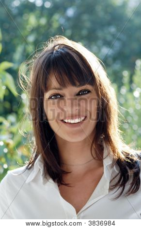 European Italian Woman Smiling