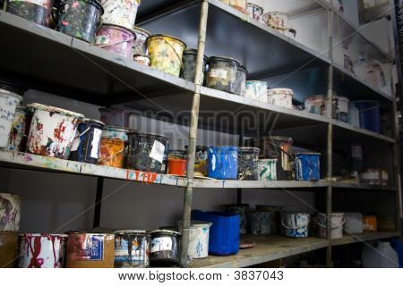 Paint Cans Shelf