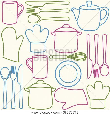 Kitchen Utensils - Seamless Pattern