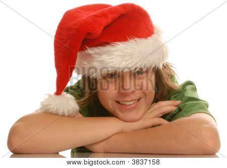 Teen Boy With Santa Hat