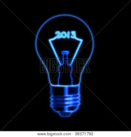 Glowing Year 2013 In Bulb