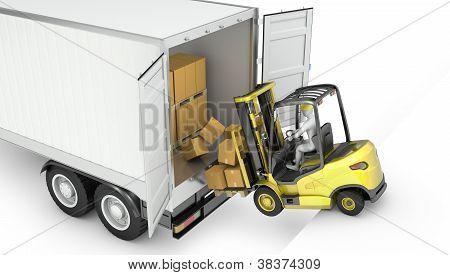 Fork Lift Truck Falling From Unsecured Semi Trailer