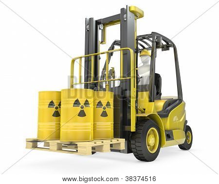Fork Lift Truck With Radioactive Barrels