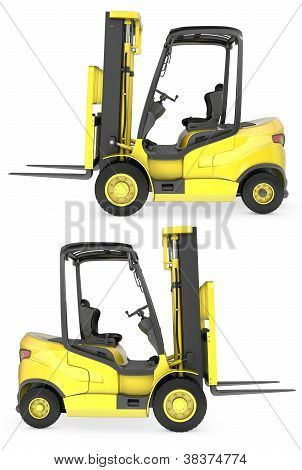 Yellow Fork Lift Truck Side View