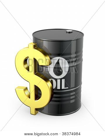 Barrel Of Oil And Dollar Sign