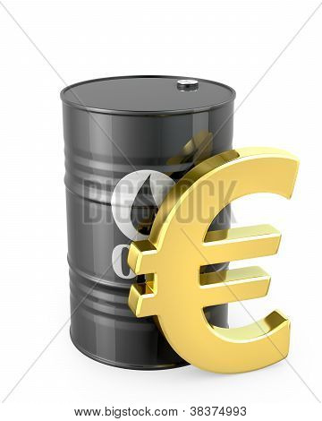 Barrel Of Oil And Euro Sign