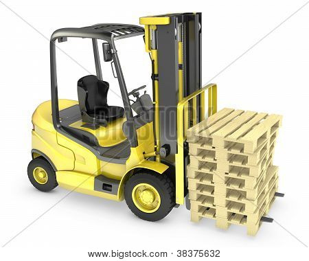 Yellow Fork Lift Truck, With Stack Of Pallets