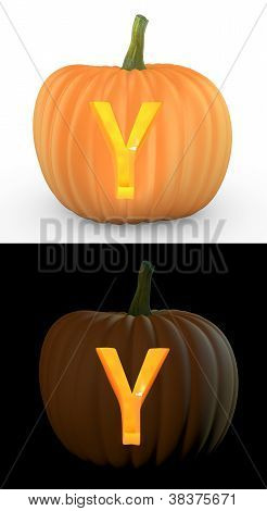 Y Letter Carved On Pumpkin Jack Lantern