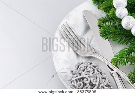 Christmas Menu Concept Over Silver Background