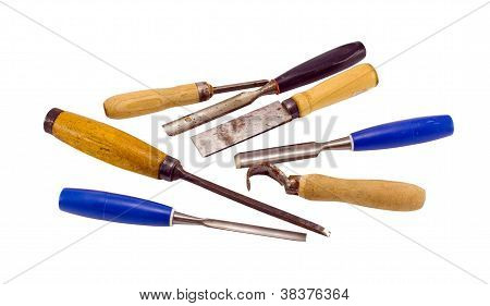 Chisel Graver Carve Tools Collection On White