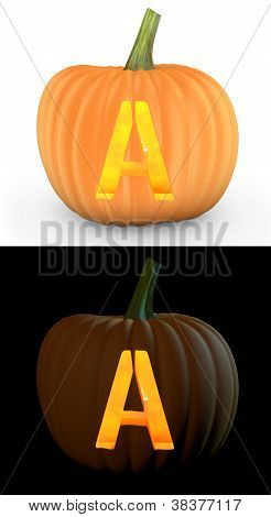 A Letter Carved On Pumpkin Jack Lantern