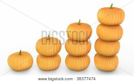 Graph Made Of Orange Pumpkins