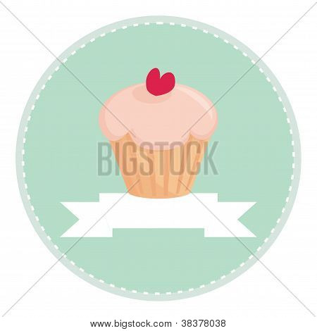 Sweet retro cupcake with heart on mint green background and white place for your own text