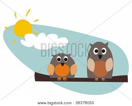 Funny, staring owls sitting on branch on a sunny day vector illustration