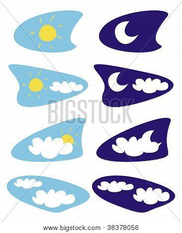 Sonne, Mond und Wolken Wetter Symbole Vektor Illustrationen