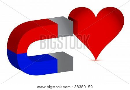 Magnet And Heart Illustration