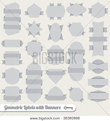 Vector Set: Ribbon Banner Labels and Icons