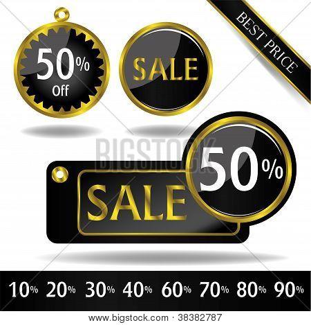 black gold price tag vector