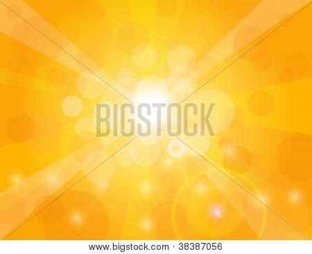 Sun Rays On Orange Background Illustration