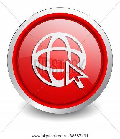 Go to Web red button - design web icon