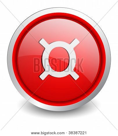 Currency red button - design web icon