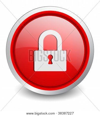 Lock close red button - design web icon