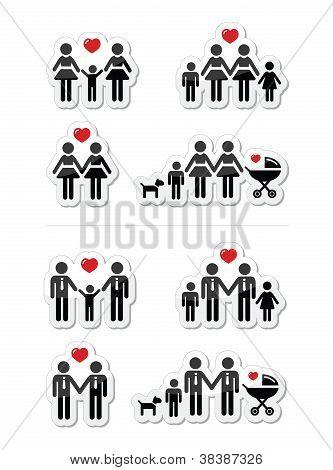 Schwule, lesbische Paare und Familie mit Kinder-Icons set